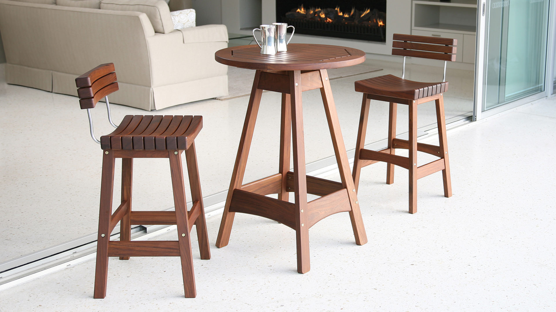 Ipe Wood Outdoor Bar Stool With Back Country Cottage Furniture