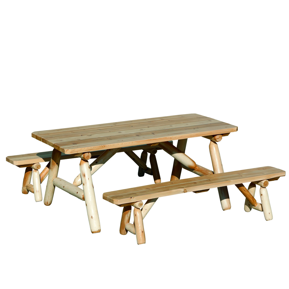 Admirable Rustic Log Picnic Table With Detached Benches Forskolin Free Trial Chair Design Images Forskolin Free Trialorg