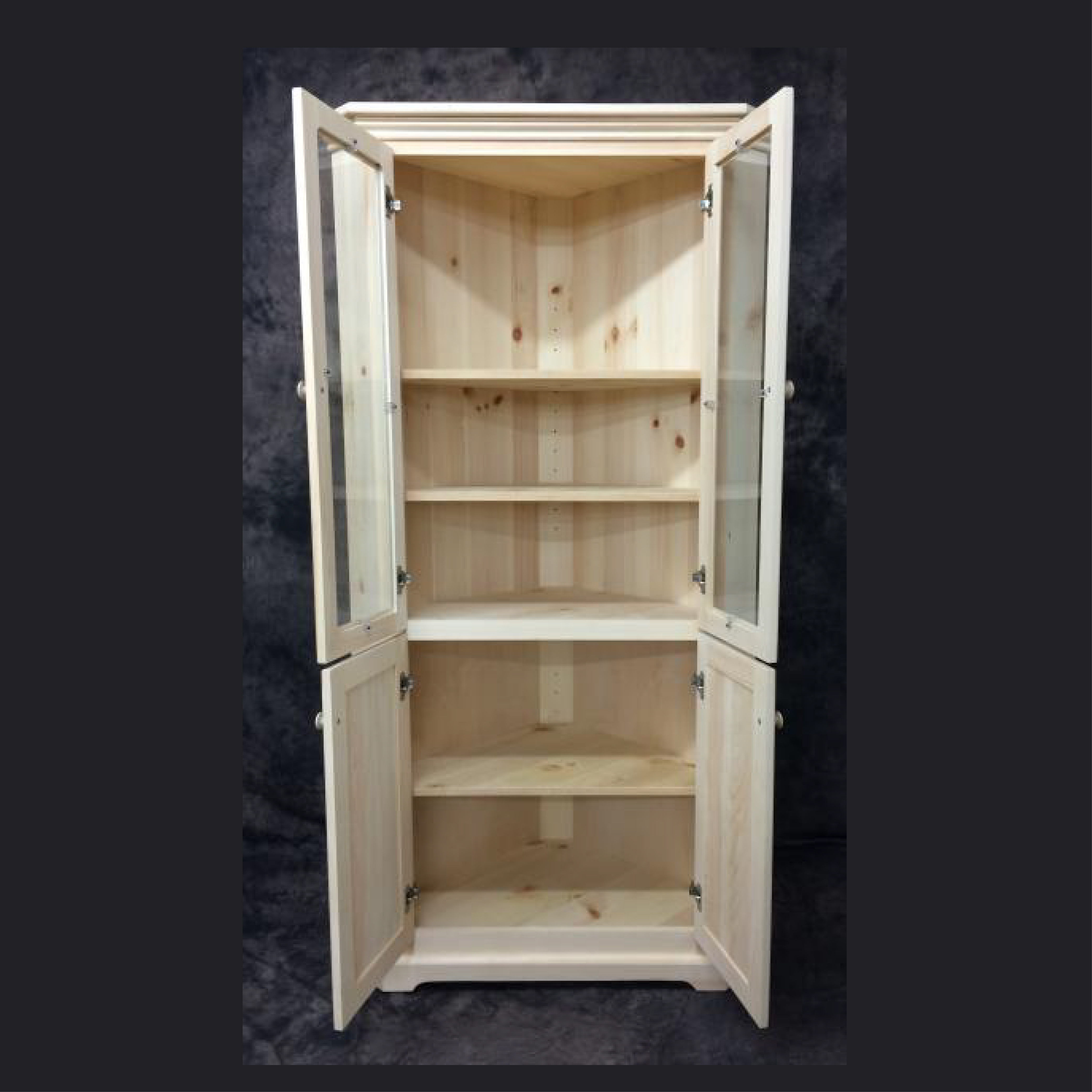 Corner Cabinet With Glass Doors Unfinished Pine Country Cottage